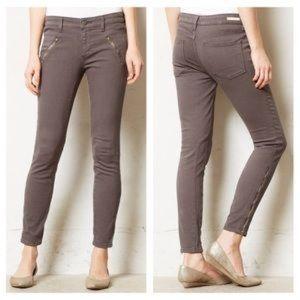 ANTHROPOLOGIE Pilcro Gray Serif Moto Zip Jeans 29